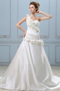 Elegant Solid Applique Ruffle A line One Shoulder Back Zipper Court Train Satin Wedding Dress
