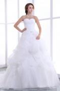 Luxus Herz-Ausschnitt Ball gown Brautkleider aus Organza mit Schnürung
