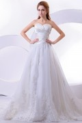 Cheapest Satin & Organza Elegant Floor Length Sweetheart Embroidery A line Wedding Dress