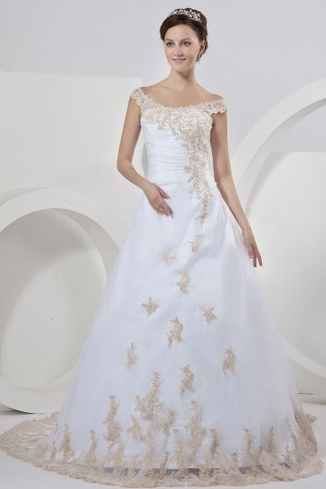 Cheap Organza Beading Applique Off-the-shoulder Chapel Train A line Bridal Gown Wedding Dresses