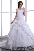 Square Taffeta Embroidery Bead Cathedral Train A line Wedding Dress