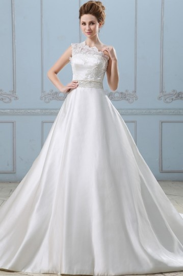 One Shoulder Lace Applique Satin Wedding dress with Bow