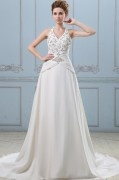 Applique Ruffle V Neck Satin Chiffon Semi Cathedral A Line Wedding Dress