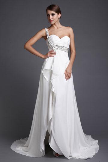 Vestido de cerimônia de casamento decote assimétrico Império com uma alça brilhante