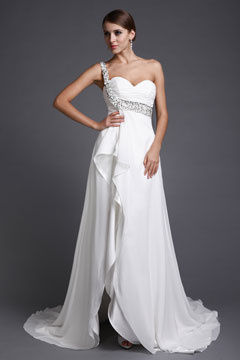 Portsmouth Chiffon One Shoulder Ruffles Split Empire Wedding Dress