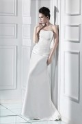 Simple Beaded Ruched Wrapped Taffeta A Line Wedding Dress
