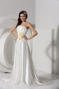 Simple Ruched Handmade Flower Satin Long Prom Formal Gown