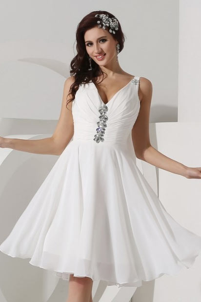 Dressesmall Pretty Beading V neck Chiffon Knee Length Formal Dress