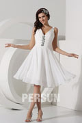 Chic White V Neck Empire Knee Length Ruching Wedding Dress