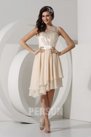 Round Neck Lace Embroidery High Low Chiffon Prom Dress