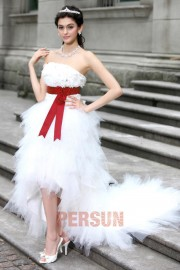 A line Boatneck Strapless Laser Dicing Hand-make Flower Beading Belt Tulle High-low Wedding Dresses