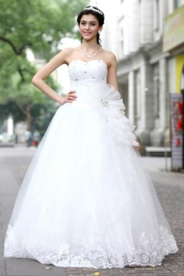 Vestido de cerimônia princesa Império bustiê coração decorado de flor