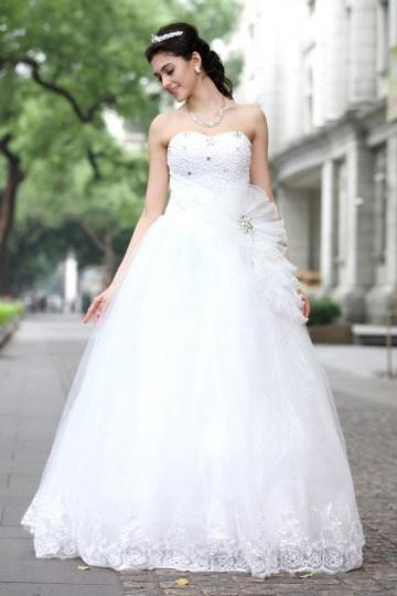 Edelles A-linie Herz Ausschnitt Perlen Tüll bodenlanges Brautkleid Persun