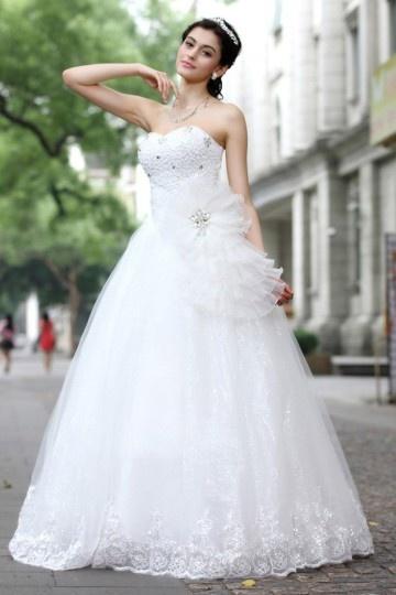 Robe de mariée romantique Ligne A en tulle