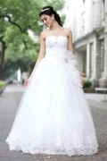 A line Empire Sweerheart Strapless Crystal Detailing Beading Lace Embellishments Bouffant Tulle Wedding Dresses