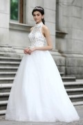 A line Empire Halter Lace Hollow Crystal Detailing Beading Tulle Floor Length Wedding Dresses