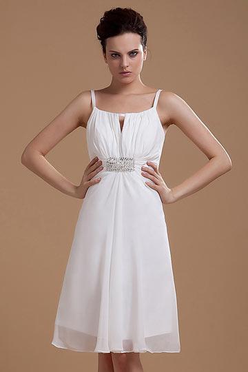 Vestido de noiva simple decote quadrado com alça fina