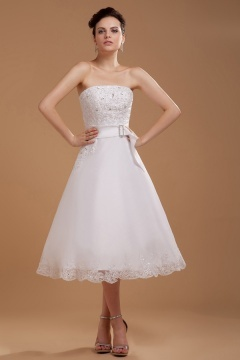 Milton Keynes Organza Strapless Embroidery Short Bridal Gown