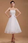 Organza Strapless Embroidery Short Wedding Dress