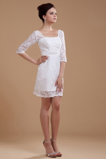 Dressesmall Lace Square Neck Three Quarter Sleeve Short Formal Gown