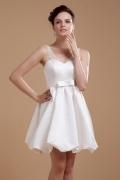 Trendy Satin Beading V Neck Short Formal Dress