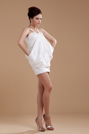 Mini robe de mariée en taffetas à bretelle