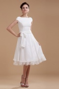 Chiffon Sash Ruffle Boat Neck Short Wedding Gown