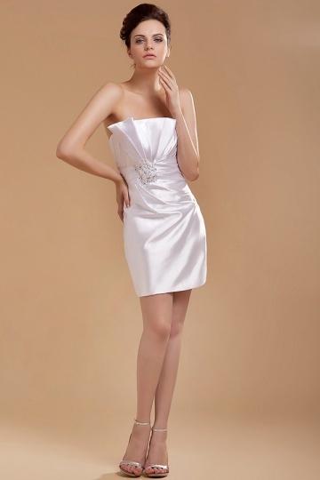 Mini Vestido de noiva bustiê em Cetim tecidos elástico
