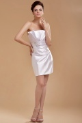 Elastic Woven Satin Pleated Beading Strapless Short Formal Dress