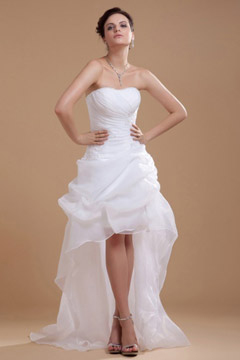 Marlow Strapless Organza Ruffle Beaded High Low Bridal Gown