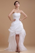 Organza High Low Perlen verziertes Applikation Brautkleid mit Schnürung