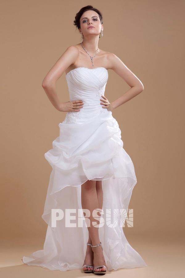 weiß Vorne Kurz Hinten Lang A-linie mit Perlen Applikation Brautkleid aus Organza