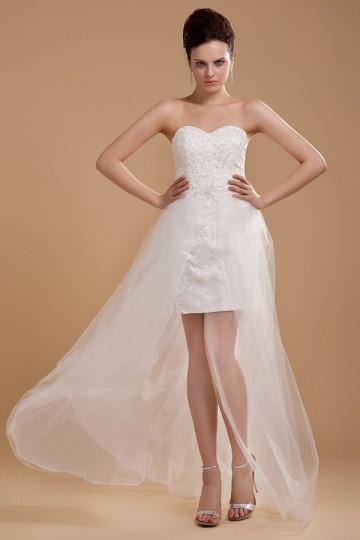 Empire Ärmellos kurzes Herz Ausschnitt Hochzeitskleid mit Rock Persun