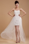 Satin Tulle Applique Beading Sweetheart Court Train Mini Wedding Dress