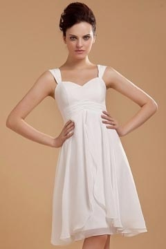Chiffon Ruffles Shoulder Straps Short Formal Dress