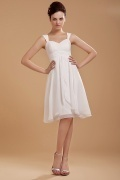 Chiffon Ruffles Shoulder Straps Short Formal Dress