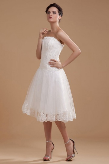 Dressesmall Satin Organza Ruffles Applique Short Formal Dress