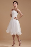 Satin Organza Ruffles Applique Short Wedding Dress
