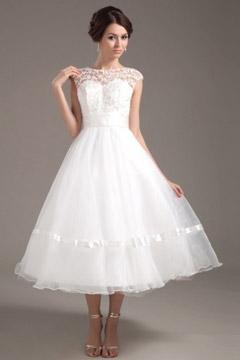 Mexborough Fashionable Organza Lace Mini Wedding Dress