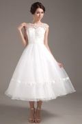 Fashionable Organza Lace Mini Wedding Dress