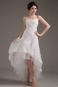 Cheap Organza Pattern Applique High Low Wedding Dress