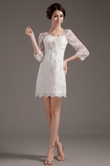 Dressesmall Vintage Lace Embroid Short Mini Wedding Dress