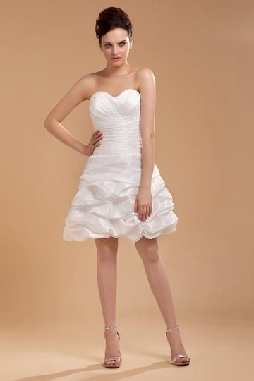 Mini Vestido de noiva bustiê coração pregueado em tafetá