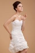 Kurzes Herz Ausschnitt gefaltetes Knopfe Brautkleid aus Taft
