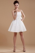 Satin Beading Embroidery Short Formal Dress