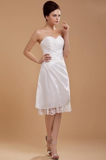 Empire A-Linie Blume Falten Spitze knielanges Brautkleid aus Taft Persun