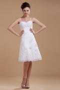 Satin Lace Beading Spaghetti Straps Short Wedding Dress