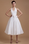 Taffeta Halter Bowtie Short Wedding Gown Persun