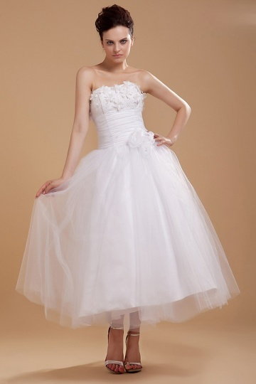 Dressesmall Organza Strapless Tea Length Mini Formal Gown