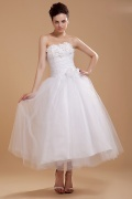 Organza Strapless Tea Length Wedding Dress